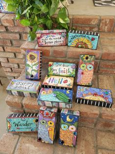 Painted Bricks Crafts, Brick Crafts, Painted Pavers, Brick Projects, Hand Painted Rocks, Art Projects, Painted Stones, Door Crafts, Brick Art