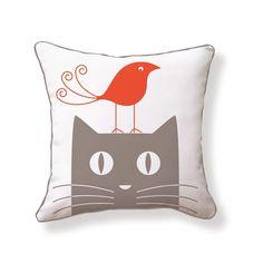 Bird On Cat 18x18 Red