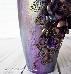 ALTERED GLASS MIXED MEDIA vase tutorial - by Olushka embellishments are chipboard & silk flowers!