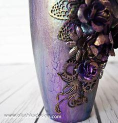 altered mixed media vase tutorial - by Olushka