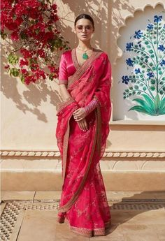 Hot Pink Organza Saree from Sabyasachi's 2019 Spring / Summer Collection. For customisation please contact our sales team through WhatsApp Dress Indian Style, Indian Dresses, Indian Outfits, Indian Clothes, Ethnic Outfits, Trendy Outfits, Sabyasachi Collection, Saree Collection, Summer Collection