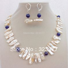 Free shipping! 45CM Tooth Shaped White Freshwater Pearl and Lapis Lazuli Jewelry Set With Sterling Silver Earring Hooks