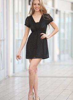 Black Day Dress - Black Lace Mini Dress Featuring