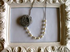 Rugged Grace fabric flower necklace beaded by HappyLittleLovelies, $26.00