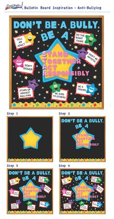 "Bulletin Board Inspiration: Anti-Bullying - ""Don't Be a Bully, Be a S. Bullying Bulletin Boards, Counselor Bulletin Boards, School Bulletin Boards, Star Bulletin Boards, Elementary School Counseling, School Counselor, Elementary Schools, Anti Bullying Week, Anti Bullying Activities"