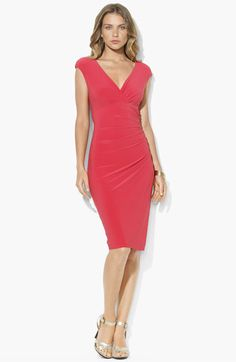(in spring coral) Lauren Ralph Lauren Faux Wrap Jersey Dress | Nordstrom