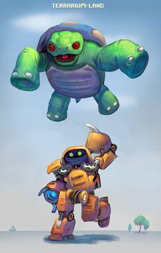 Big turtle attacking at robot T.I.X. #terrarium_land,#gamedev, #indiedev, #animals, #robots, #art,