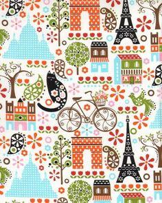 """Hoodie's Collection   """"mit dem Rad nach Paris""""     Die Hintergrundfarbe ist weiss.    Die Fahrräder sind ca.9 x 6cm groß.  Der Eiffelturm ist 10 x 4cm"""