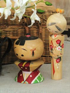 Vintage Japanese Kokeshi Wooden Dolls- Asian Persuasion.  via Etsy.
