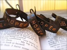 Leather Cuff Bracelet  Unisex  Hand Stamped  by PeaceofStoneStudio