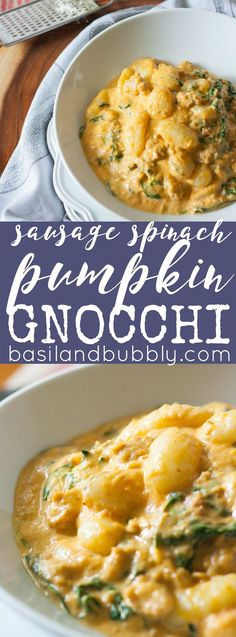 Delicious comfort food - Sausage, Spinach Pumpkin Gnocchi Alfredo.  My favorite of my savory pumpkin recipes!
