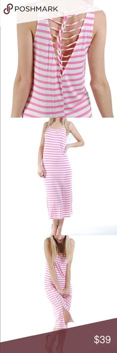 Kelly Dress Don't forget the details when you go to the beach! This pink/fuchsia and white horizontal stripe maxi dress is all about the little things with the awesome braid back detail and small slit on the bottom. Take a break from the sun and stroll to the beach bar for a frozen drink in the lovely Kayla Dress!  94% Rayon, 6% Spandex  size + fit: Model is 5ft 8in and wearing a size small. Dress runs true to size and is super light and comfortable. Dresses Midi