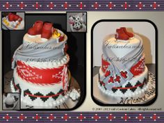 Navajo Baby Shower cake - basket design with sash belt and chief's blanket wrap.