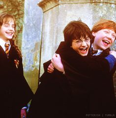 happy trio from chamber of secrets