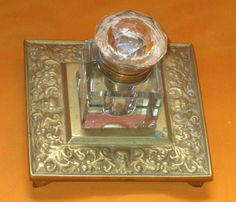 Vintage glass inkwell with Brass Base Stand