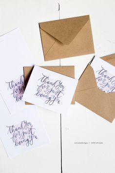 Printable Thank You cards, hand lettering
