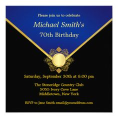 Gold Blue Emblem Elegant Birthday Party Invites This site is will advise you where to buyDeals          Gold Blue Emblem Elegant Birthday Party Invites Here a great deal...