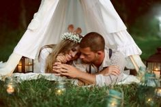 hippy wedding compete with tipi