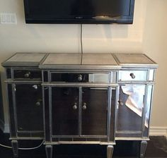 Gorgeous mirrored table to go under the TV in the bedroom - Pier 1 #pier1