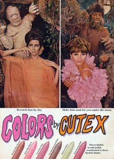 1966 CUTEX lipstick & nail polish ad Makeup Ads, Retro Makeup, Vintage Makeup, Vintage Beauty, Vintage Glamour, Sixties Makeup, Retro Halloween, Halloween Queen, Halloween Inspo