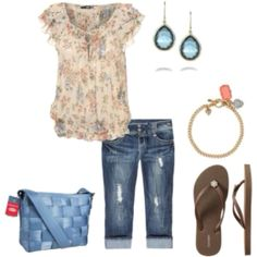 Love the color/pattern of shirt, Neckline ok. The capri lenght distressed denim paired with flip flops keeps it casual. I could wear this every day.