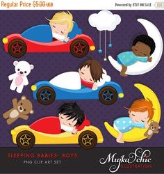 Cute little babies sleeping in little sport cars and moon graphics. This adorable set comes with 8 high quality graphics featuring little angel babies sleeping. Cute teddy bear and little cloud with hanging stars. Perfect for invitations, party printables and embroidery.  Contains 8 high quality Cliparts Format: 300 DPI transparent PNG files Size: Most cliparts are saved around 6,7 inches tall  LICENSE: Personal Use & Commercial Use with Credit: Agree to credit Mujka on the page you are…