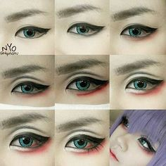Tutorial - Weibliches Hanbok Make-up von Heizle - Cosplay Korean Makeup Tips, Korean Makeup Tutorials, Anime Eye Makeup, Makeup Art, Hair Makeup, Beauty Makeup, Smokey Eye Makeup, Makeup Eyeshadow, Grey Eyeshadow