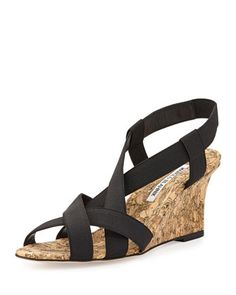 64c90f9ca677 Lastiwe Strappy Elastic Cork-Wedge Sandal