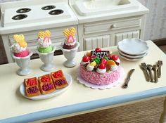 Casa delle bambole in miniatura Party Set torta di BEADSPAGE