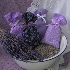 Lavender Sachet Bags tied w/ribbon set of 4 by LavenderDrmsCottage, $15.00