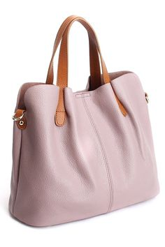 Ohan Pink Stitching Textured Leather Tote Bag | Totes at DEZZAL