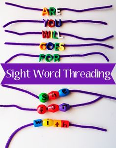 Sight word threading for early readers. Hands on word building activity, includes a bead hack to make your own letter beads.