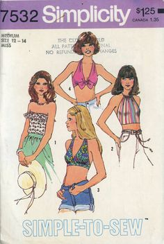 Simplicity 7532 Misses 1970s Halter Top Pattern Tube Top Bra Top Simple to Sew Hippie Boho 1970s Womens Vintage Sewing Pattern Bust 34 - 36