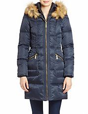 Faux Fur-Trimmed Hooded Puffer Coat