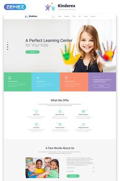 Kinderex Kids Learning Center Clean Landing Page Template - Landing Pages - Create a landing pages with drag and drop. Easily make your landing page in 3 minutes. - Kinderex Kids Learning Center Clean Landing Page Template Website Design Inspiration, Website Design Layout, Web Layout, Website Designs, Online Web Design, Web Design Company, Learning Centers, Kids Learning, Pag Web