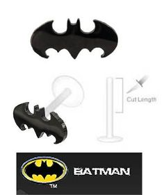Batman  Black Bat Official Licensed DC Comics Labret Monroe lip tragus piercing bar Ring 16g: Jewelry: Amazon.com