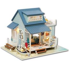 Fashion Style Cuteroom A-037-a Caribbean Diy Wooden Dollhouse Miniature Kit With Light Music Motor Best Gift For Children Girls Ideal Gift For All Occasions Dolls & Stuffed Toys