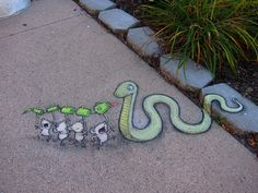 Dragon Dance - sidewalk chalk street art by David Zinn - www.zinnart.com