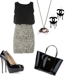 """white cheetah whith black"" by destinydh ❤ liked on Polyvore"