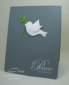 handmade Christmas card ... clean and simple .... slate gray base ... bird punch as dove of peace ....