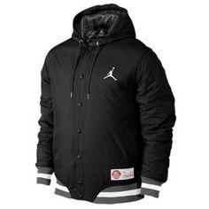 Jordan The Varsity Padded Woven - Men's - Sport Inspired - Clothing - Dark Grey/White/Stealth  ***size medium***