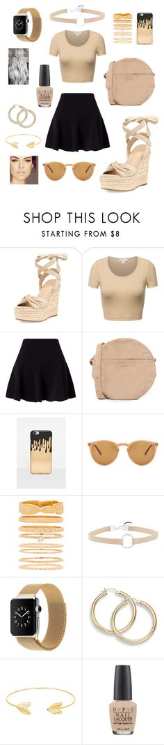 """Black&Beige"" by princess1sara ❤ liked on Polyvore featuring Kendall + Kylie, Miss Selfridge, BAGGU, Missguided, Oliver Peoples, 8 Other Reasons, Witchery, Lord & Taylor and OPI"