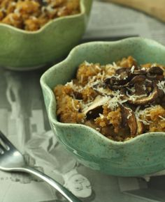 My family fawns over this recipe every time I make it. Risotto with roasted mushrooms made easy and healthy!