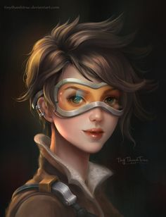 Tracer Overwatch Portrait - Fanart by TiNyThanhTruc.deviantart.com on @DeviantArt - More at https://pinterest.com/supergirlsart