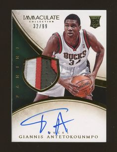 af28cc6a6a5 2013-14 Immaculate Giannis Antetokounmpo Bucks RPA RC 4-Color Patch AUTO  32 99