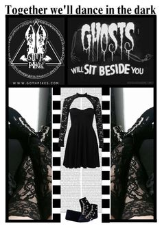 """Goth Pikes (42)"" by irresistible-livingdeadgirl ❤ liked on Polyvore featuring Kayu, Boohoo, black, emo, goth, velvet and boohoo"