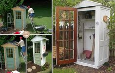 (link) DIY Four-Door Shed ~ This little shed is a great way to protect your garden tools and recycle some old doors that would otherwise become landfill. ~~~ Reuse - Recycle - Upcycle - Re-purpose for your yard & garden: Storage Shed / Potting Shed / Playhouse ~ for more great PINs w/good links visit @djohnisee ~ have fun!