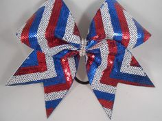 Red White and Blue Chevron Sequin Cheer Bow w Rhinestone center by BlingItOnCheerBowz by BlingItOnCheerBowz on Etsy