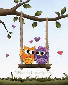 Love Owls 8 x 10 Print, Childrens Art, Woodland Animal Art, Bird  Childrens Print