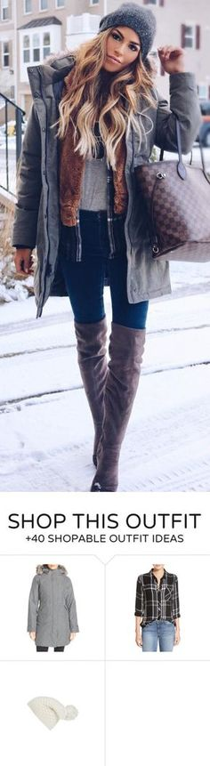 #winter #fashion / Grey Beanie / Grey Jacket / Navy Skinny Jeans/ Brown Velvet OTK Boots